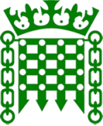 British parliament logo; green portcullis beneath a crown